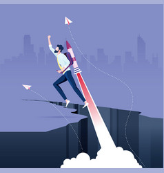 Businessman flying on rocket from rock gap vector
