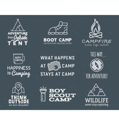 Camping logo design set with typography and travel vector