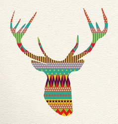 Christmas deer art in fun colors vector image