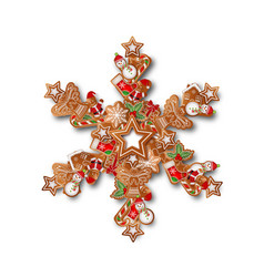 christmas snowflake with gingerbreads vector image