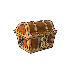 closed locked wooden treasure chest vector image