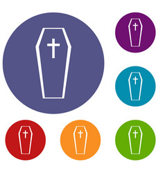 coffin icons set vector image