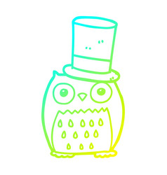Cold gradient line drawing cartoon owl wearing vector