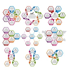 Collection of hexagon colorful infographics Design vector