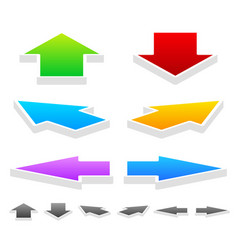 Colorful arrows in different directions 3d up vector