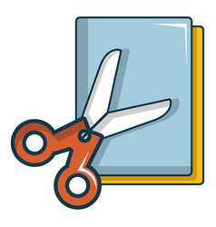 colorful paper scissors icon cartoon style vector image