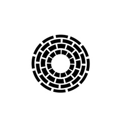 Concentric dashed circles sign vector