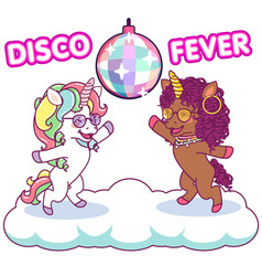 Cool unicorns dancing at disco under the vector
