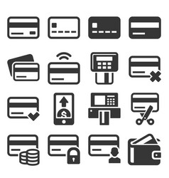credit cart icons set on white background vector image