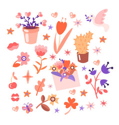 cute cartoon flower collection girly style vector image