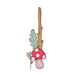 Cute mushroom flower trunk branch leaves cartoon vector