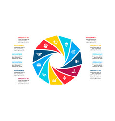 Cycle infographic diagram with 11 options vector