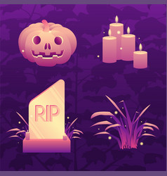 dark violet halloween icon set vector image