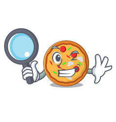 detective pizza character cartoon style vector image