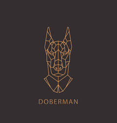 doberman dog in geometric modern style vector image