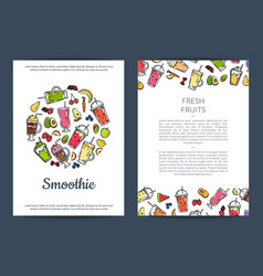 Doodle smoothie card or flyer template vector
