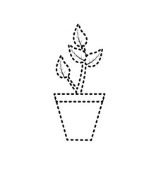 dotted shape natural plant with leaves and ecology vector image