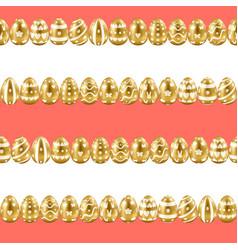 easter gold eggs horizon stripe seamless pattern vector image