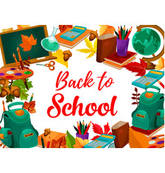 Education supplies poster back to school design vector