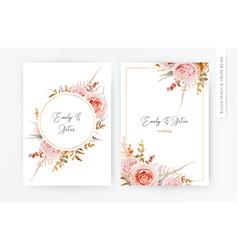 elegant wedding floral invite card peach roses vector image