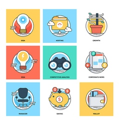 Flat Color Line Design Concepts Icons 15 vector image