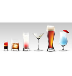 full glasses set vector image