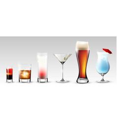 full glasses set vector image vector image