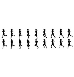 girl run cycle animation sequence silhouette vector image
