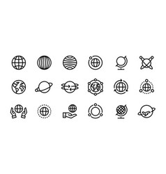 Globe line icons world earth outline symbols for vector
