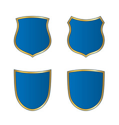 gold-blue shield shape icons set bright logo vector image