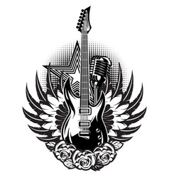 guitar microphone wings roses on poster vector image
