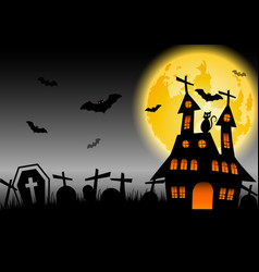 Halloween background with haunted house and black vector