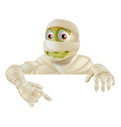 Halloween mummy pointing down vector