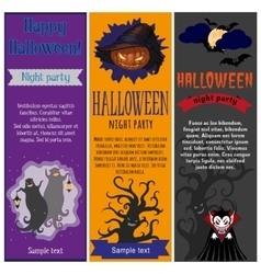 Halloween party flyers set vector image