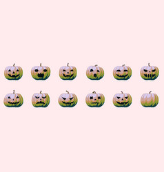 Halloween pumpkin emotion modern kitsch effect vector