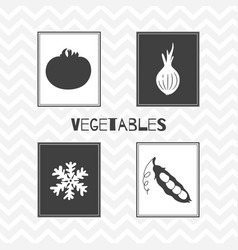 Hand drawn silhouettes vegetables posters vector