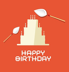 Happy Birthday Flat Design Paper Cake with Burning vector