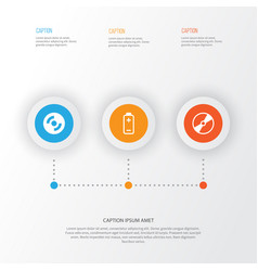 Hardware icons set collection of cd-rom battery vector