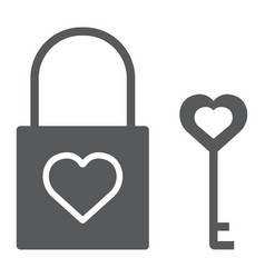 heart lock glyph icon valentine and holiday love vector image
