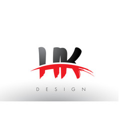 hk h k brush logo letters with red and black vector image