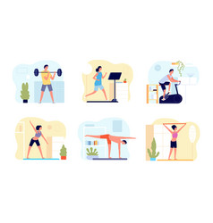 home training man activity practicing exercise vector image