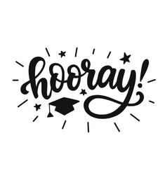 hooray graduation class label banner vector image