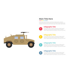 Humvee military infographics template with 4 vector
