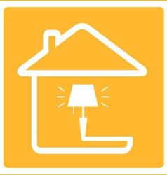 Icon with lamp and house vector