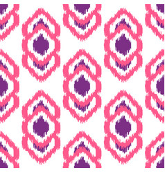 Ikat geometric seamless pattern pink and violet vector