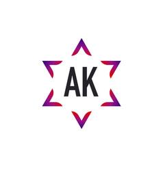 Initial letter ak star david creative logo design vector