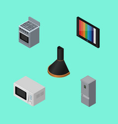 isometric appliance set of air extractor vector image