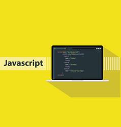 javascript programming language with script code vector image