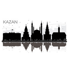 Kazan russia city skyline black and white vector