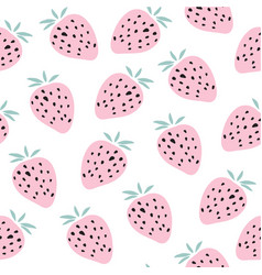 kids hand drawn seamless pattern with strawberries vector image